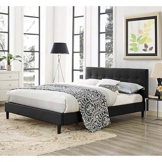 Copper Grove Silistra Full-size Black Leather Platform Bed with Tufted Headboard