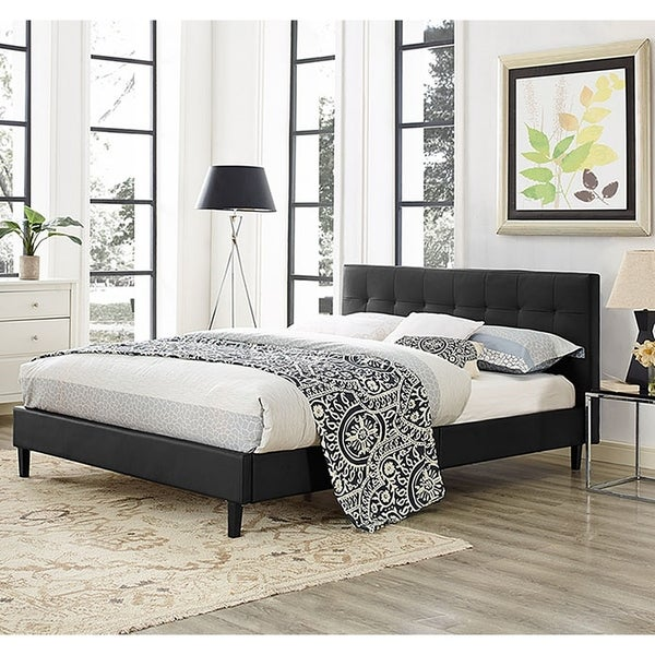 Copper Grove Silistra Queen-size Black Vinyl Platform Bed with Tufted Headboard