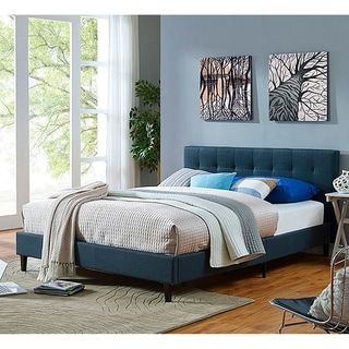 Link to Copper Grove Silistra Queen-size Blue Fabric Platform Bed with Tufted Headboard Similar Items in Bedroom Furniture