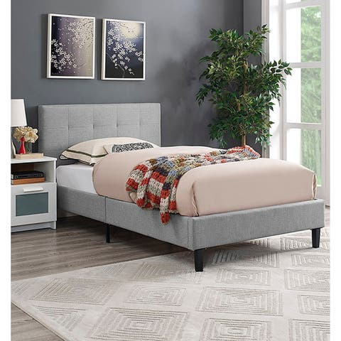 Copper Grove Silistra Twin-size Light Grey Fabric Platform Bed with Tufted Headboard