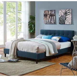 Link to Copper Grove Silistra Full-size Blue Fabric Platform Bed with Tufted Headboard Similar Items in Bedroom Furniture