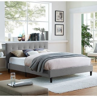 Copper Grove Silistra Queen-size Light Grey Fabric Platform Bed with Tufted Headboard