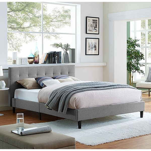 88f17f5d0aca Copper Grove Silistra Queen-size Light Grey Fabric Platform Bed with Tufted  Headboard