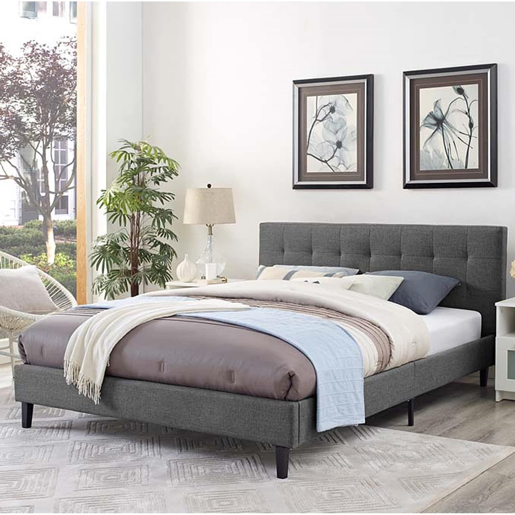 King Size Platform Bed Frame W Tufted Headboard Gray Upholstered Beds Wood Frame