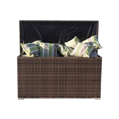 Outdoor Garden Storage Container Wicker Patio Deck Box