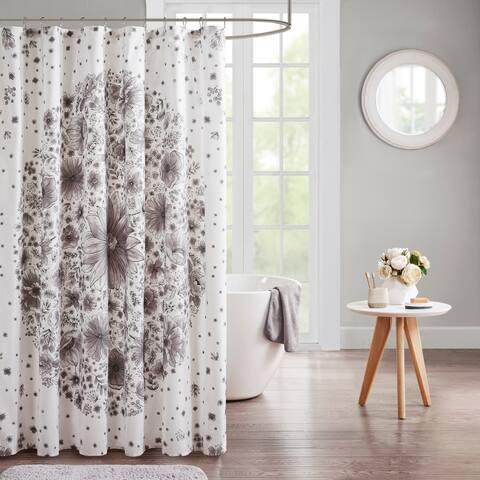 Intelligent Design Lia Grey Printed Medallion Shower Curtain