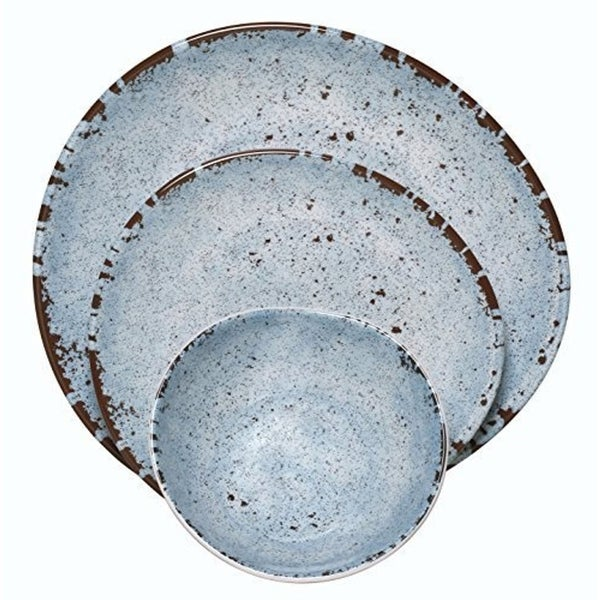 Melange 54-Pcs Melamine Dinnerware Set(Egg Collection) Color: Blue, Dinner Plate, Salad Plate & Soup Bowl(18 Each)
