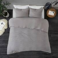 Madison Park Coreen Grey Cotton Blend Jersey Knit Duvet Cover Set