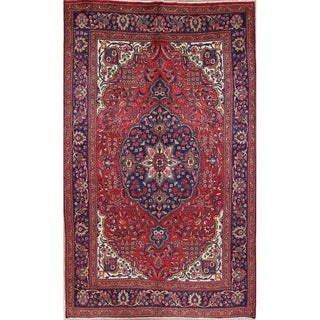 """Antique Mashad Medallion Hand Made Wool Persian Area Rug - 12'3"""" x 7'6"""""""