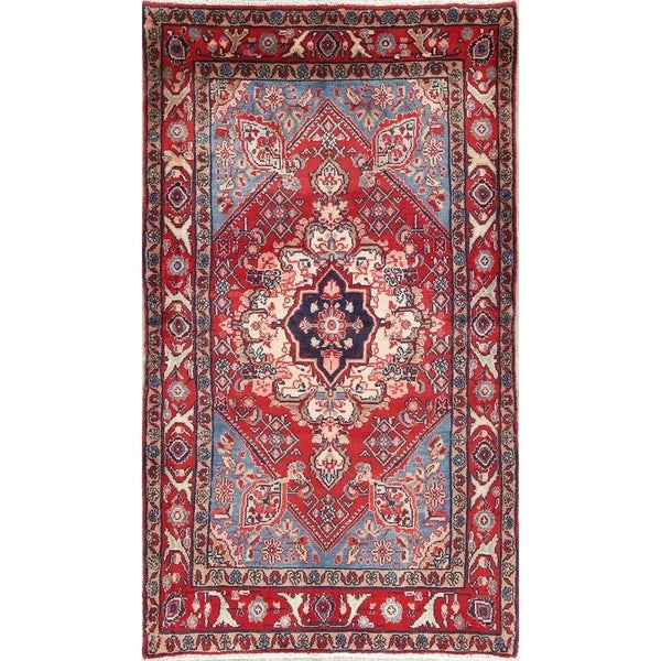 "Vintage Malayer Geometric Hand Made Wool Persian Rug - 6'0"" x 3'5"" Runner"