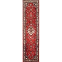 "Vintage Malayer Floral Hand Made Wool Persian Rug - 14'5"" x 3'10"" Runner"