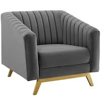 Silver Orchid Gruning Channel Tufted Velvet Armchair