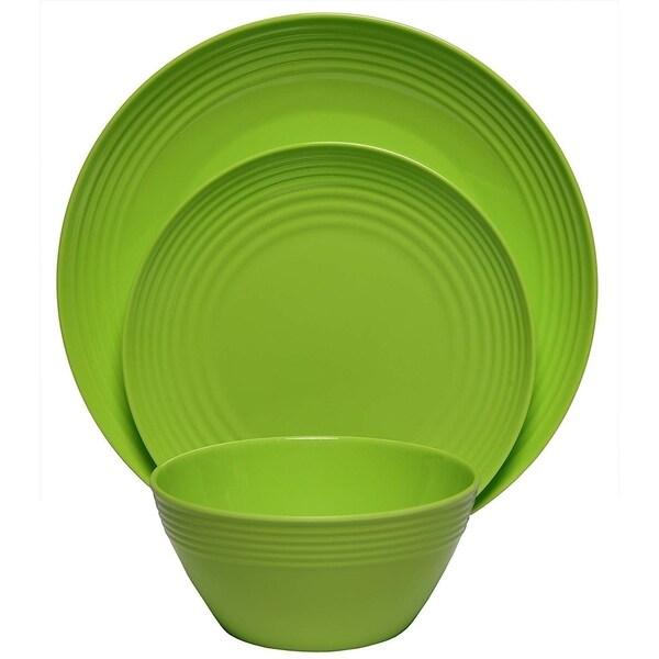 Melange 54-Pcs Melamine Dinnerware Set(Solids Collection) Color: Lime Green, Dinner Plate, Salad Plate & Soup Bowl(18 Each)