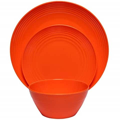 Melange 36-Pcs Melamine Dinnerware Set(Solids Collection) Color: Orange, Dinner Plate, Salad Plate & Soup Bowl(12 Each)