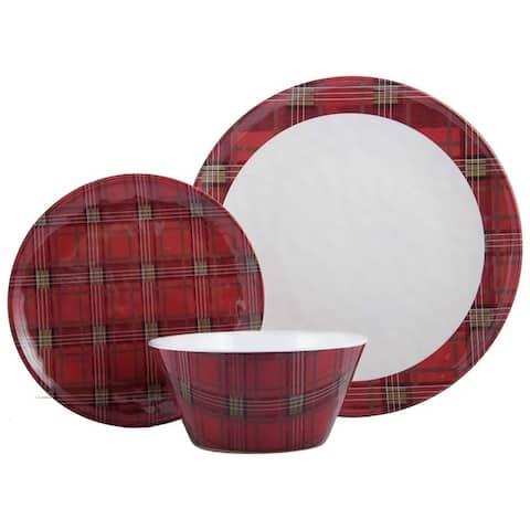 "Melange 36-Pcs Dinnerware Set Christmas Collection-Red Plaid Dinner Plate, Salad Plate & Soup Bowl(12 Each), 10.5"", White"