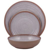 Melange 36-Pcs Melamine Dinnerware Set(Clay Collection) Color: White, Dinner Plate, Salad Plate & Soup Bowl(12 Each)