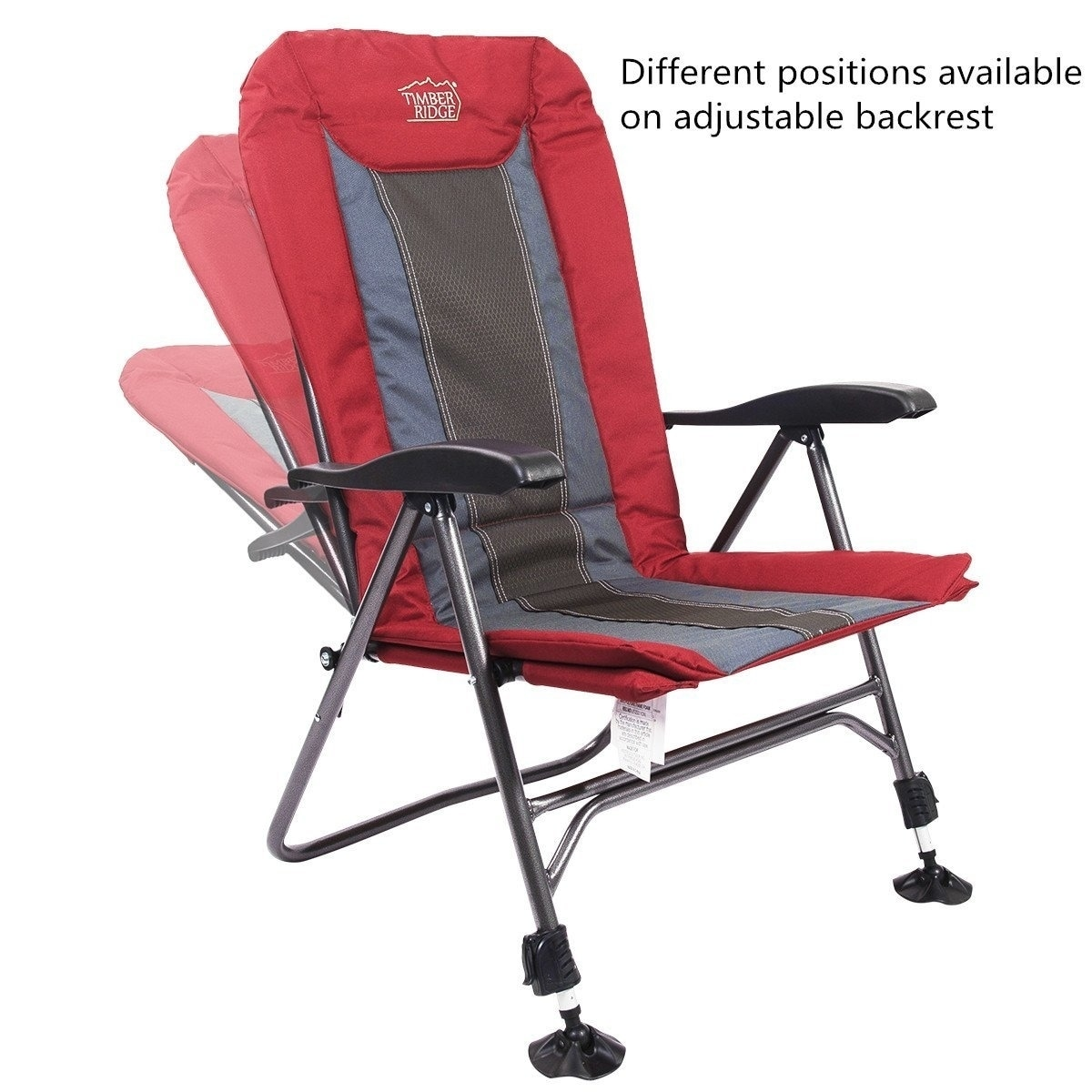 Camping Chair Folding Heavy Duty With Adjustable Reclining Padded Back And Legs Supports 300lbs Armrest Outdoor