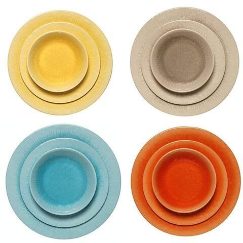 Melange 18-Pcs Melamine Dinnerware Set(Crackle Collection) Color: Multicolor, Dinner Plate, Salad Plate & Soup Bowl(6 Each)