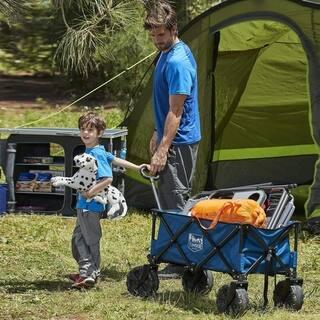 Folding Camping Wagon/Cart - Collapsible Sturdy Steel Frame Garden/Beach Wagon/Cart