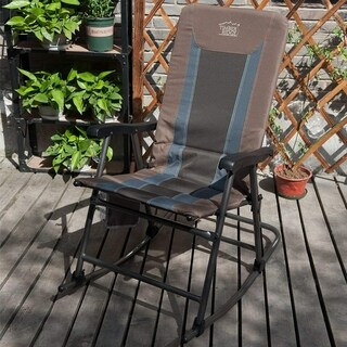 Smooth Glide Lightweight Padded Folding Rocking Chair for Indoor and Outdoor Support 300lbs