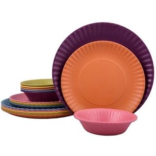 Melange 18-Pcs Melamine Dinnerware Set(Paper Plate Collection) Color: Multicolor, Dinner Plate, Salad Plate & Soup Bowl(6 Each)