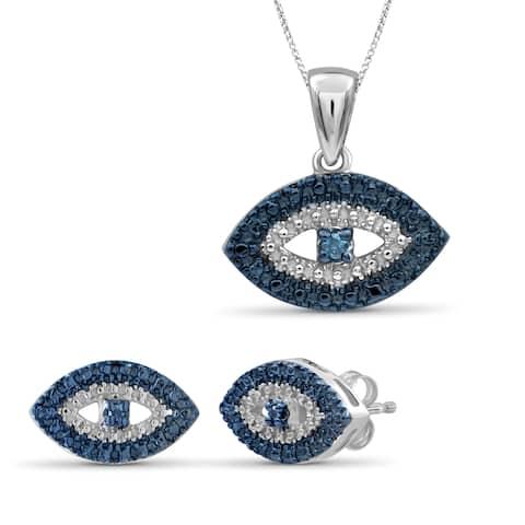JewelonFire Accent Blue Diamond Evil Eye Sterling Silver 2-Piece Jewelry Set
