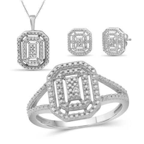 JewelonFire Accent White Diamond Sterling Silver 3-Piece Jewelry Set