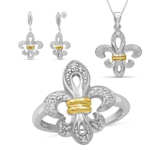 JewelonFire 1/20 Ctw White Diamond Fleur-de-lis 2-tone Silver 3-Piece Set