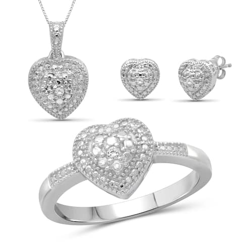 JewelonFire 1/20 Ctw White Diamond Heart Sterling Silver 3-Piece Jewelry Set