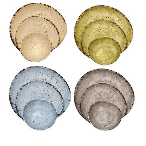 Melange 18-Pcs Melamine Dinnerware Set(Egg Collection) Color: Multicolor, Dinner Plate, Salad Plate & Soup Bowl(6 Each)