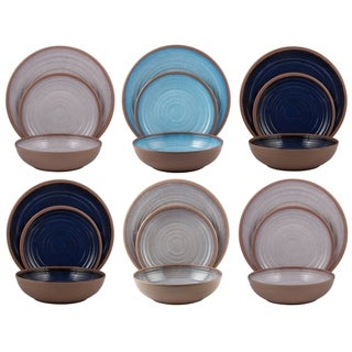 Melange 18-Pcs Melamine Dinnerware Set(Clay Collection) Color: Pastel Colors, Dinner Plate, Salad Plate & Soup Bowl(6 Each)