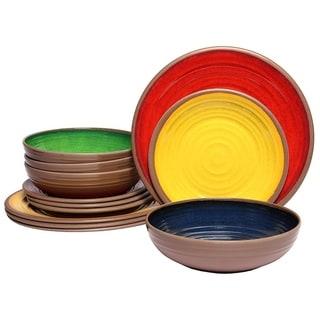 Melange 12-Pcs Melamine Dinnerware Set(Clay Collection) Color: Multicolor, Dinner Plate, Salad Plate & Soup Bowl(4 Each)