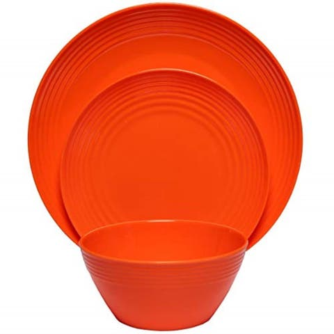 Melange 12-Pcs Melamine Dinnerware Set(Solids Collection) Color: Orange, Dinner Plate, Salad Plate & Soup Bowl(4 Each)