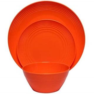 Melange 12-Pcs Melamine Dinnerware Set(Solids Collection) Color: Orange, Dinner Plate, Salad Plate & Soup Bowl(4 Each)