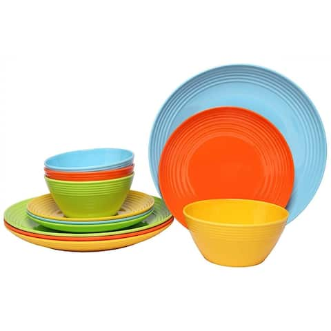 Melange 12-Pcs Melamine Dinnerware Set(Solids Collection) Color: Multicolor, Dinner Plate, Salad Plate & Soup Bowl(4 Each)