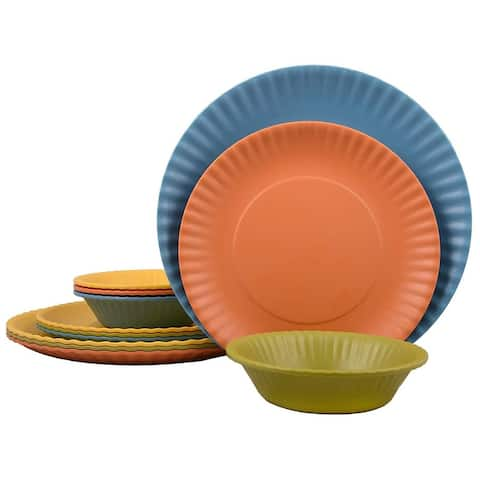 Melange 12-Pcs Melamine Dinnerware Set(Paper Plate Collection) Color: Multicolor, Dinner Plate, Salad Plate & Soup Bowl(4 Each)