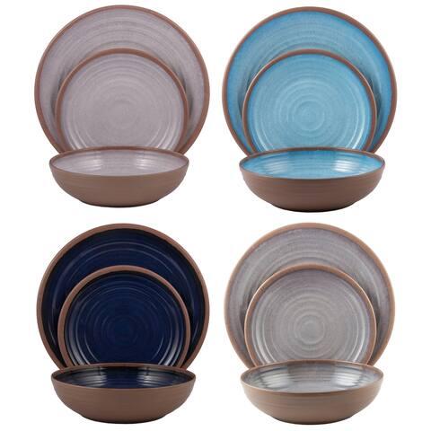 Melange 12-Pcs Melamine Dinnerware Set(Clay Collection) Color: Pastel Colors, Dinner Plate, Salad Plate & Soup Bowl(4 Each)