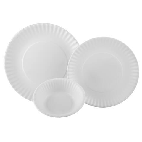 Melange 12-Pcs Melamine Dinnerware Set(Paper Plate Collection) Color: White, Dinner Plate, Salad Plate & Soup Bowl(4 Each)