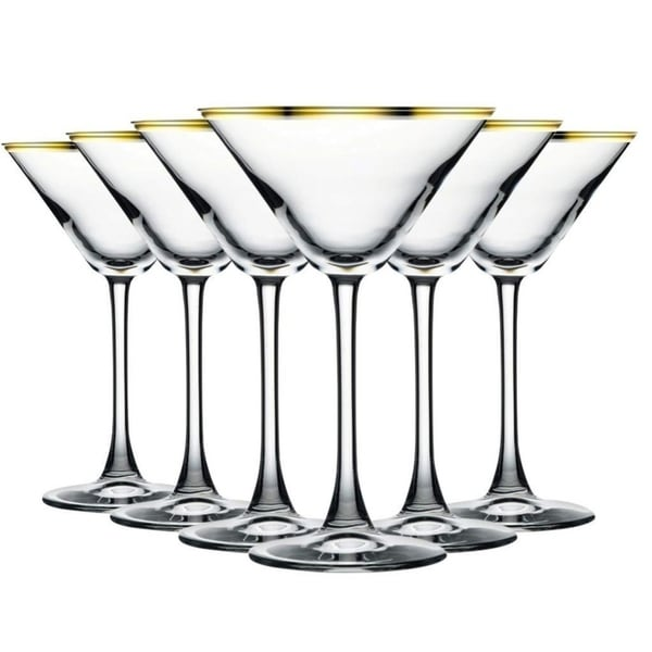 Gold Banded Martini/Cocktail Glasses with Beautiful Stem - 10 oz