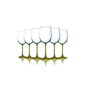 Amber Wine Glasses with Beautiful Colored Stem Accent - 19 oz