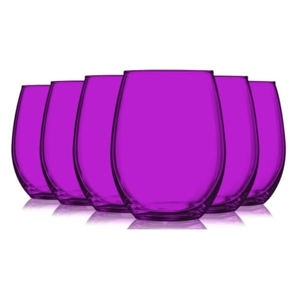 Hot Pink Stemless Wine Glasses Fully Colored - 15oz