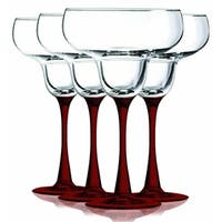 Red Margarita Glasses with Beautiful Colored Stem Accent - 14.5 oz