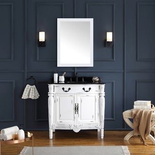 OVE Decors Lynton 36 in. White Single Sink Vanity with Granite Top