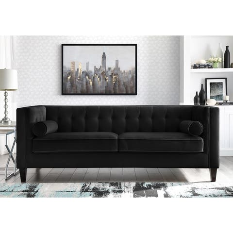 Paolo Velvet Club Chair or Sofa - Button Tufted, Espresso Tapered Leg