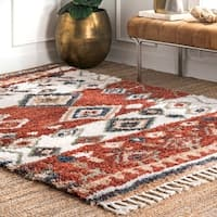 The Curated Nomad Redwood Transitional Southwestern Moroccan Lozenge Tassel Shag Area Rug