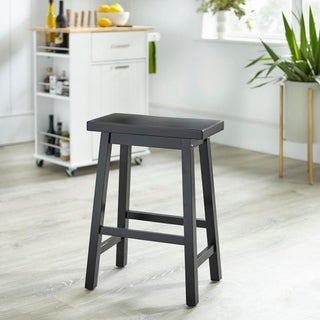 Link to Simple Living Arizona 24-inch Solid Wood Counter Height Saddle Stool Similar Items in Dining Room & Bar Furniture