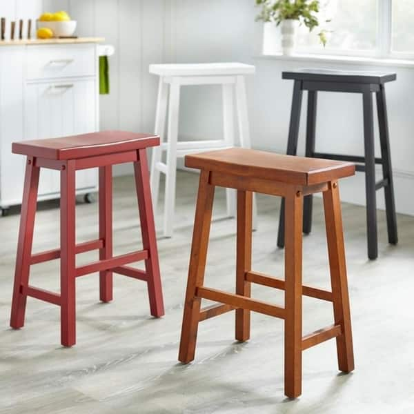 Terrific Shop Simple Living Arizona 24 Inch Solid Wood Saddle Stool Camellatalisay Diy Chair Ideas Camellatalisaycom