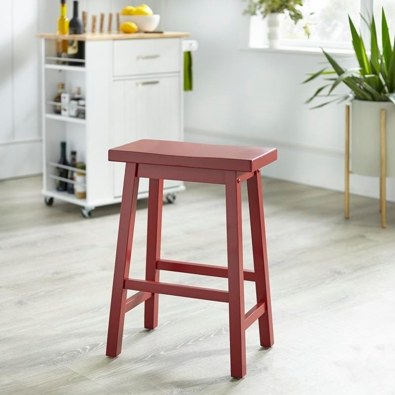 Fantastic Simple Living Arizona 24 Inch Solid Wood Saddle Stool Gamerscity Chair Design For Home Gamerscityorg