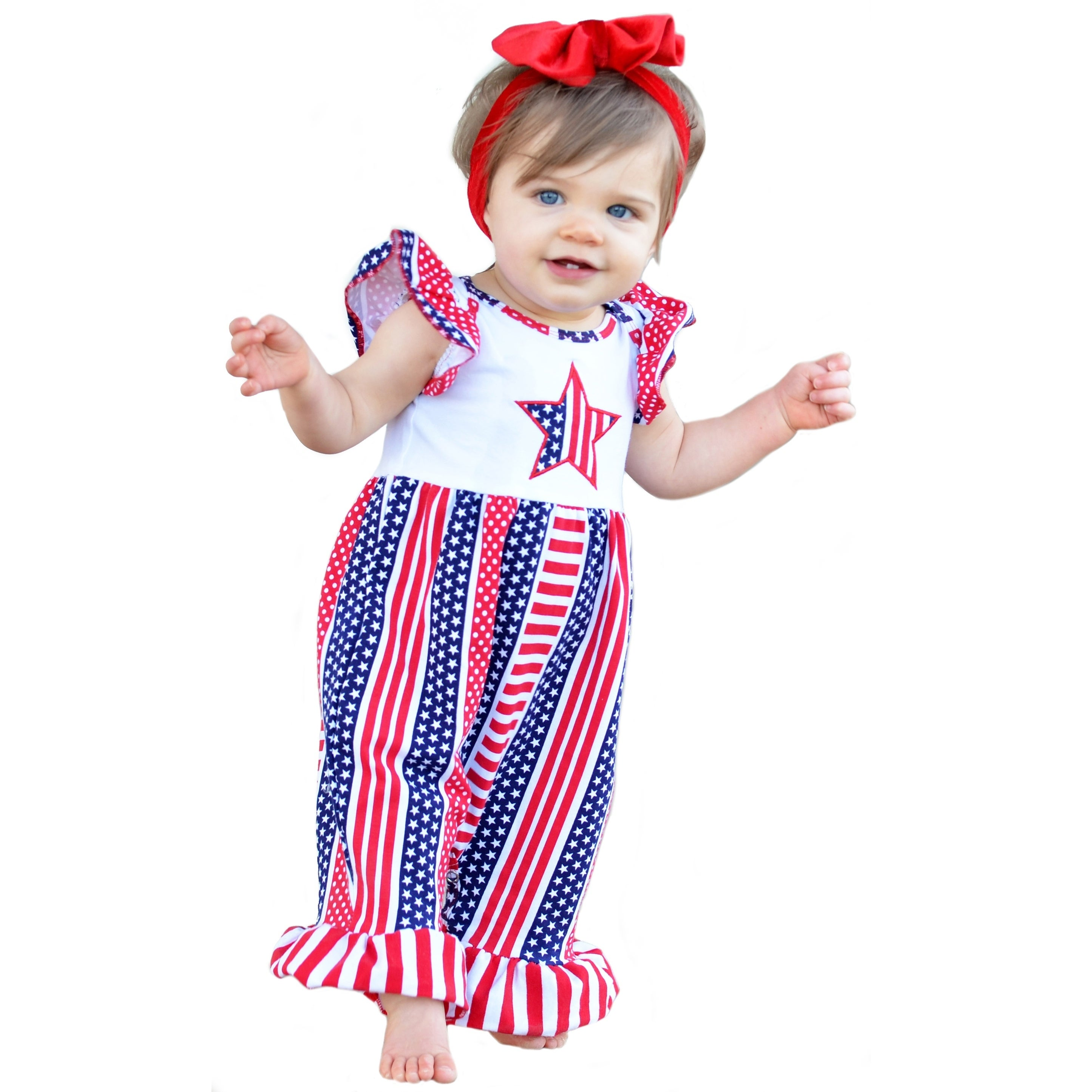 GIRLS 5T 4th Of JULY OUTFIT BOUTIQUE USA RUFFLE OUTFIT LAST ONE