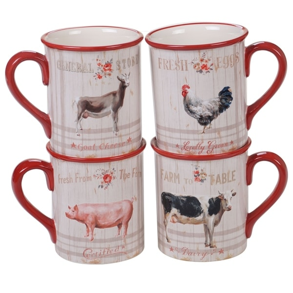 b1750031c12 Shop Certified International Farmhouse Mugs, Set of 4 - Free Shipping On  Orders Over $45 - Overstock - 27168572